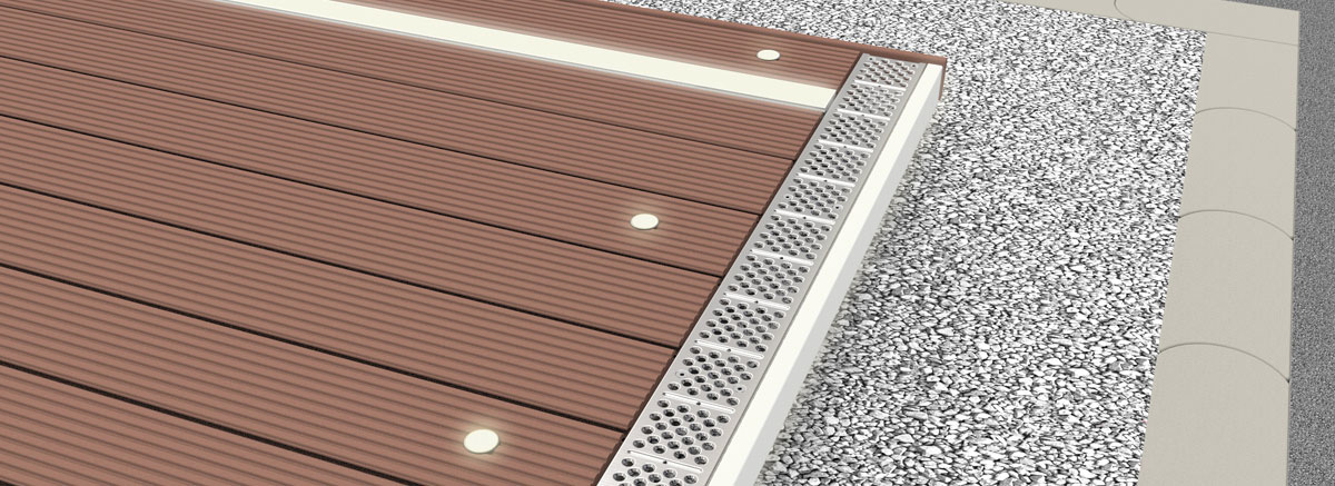 Megalite Lichtsystem Megawood Terrassensystem